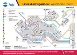 cartellone con linee di navigazione a Venezia