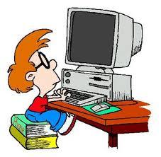 Disegno di un giovane al computer