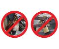 """Immagini di divieto che accompagnano l'iniziativa """"Non acquistare merce da venditori abusivi e non appendere lucchetti"""""""
