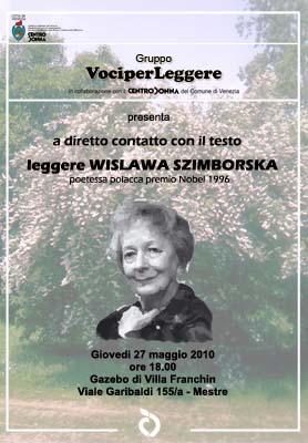 "Locandina dell'incontro ""Leggere Wislawa Szimborska"