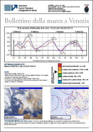 Bollettino della marea a Venezia