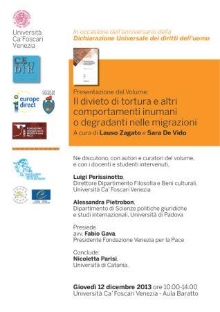 locandina Presentazione volume su tortura e migrazioni