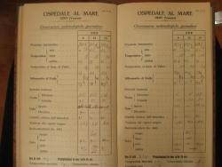 Fotografia di un vecchio registro di laboratorio con osservazioni giornaliere