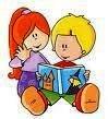 Bambini che leggono un libro