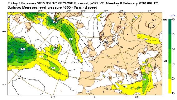 Previsioni di pressione e vento sull'area del Mediterraneo (www.ecmwf.int)