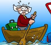 Il Prof. De Civis in barca