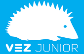 logo vez junior: riccio su sfondo azzurro