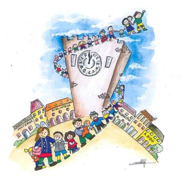 Disegno di Bambini a mano attorno alla Torre di Mestre