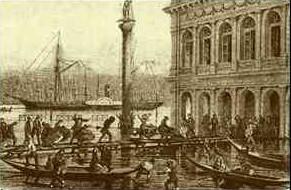Veduta del Bacino San Marco con l'acqua alta