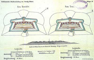 Disegni dei Forti Brendole e Tron (Foto dell'Associazione Dalla Guerra alla Pace Forte alla Gatta)