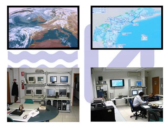 Particolari della sala operativa del Centro Maree