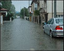 Strada allagata a Mestre