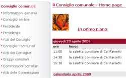 Particolare della home page del sito del Consiglio comunale
