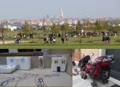 Foto costituita da tre immagini che raffigurano Venezia vista da parco San Giuliano, casette di carta, passeggini