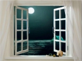 foto di una finestra su sfondo notturno