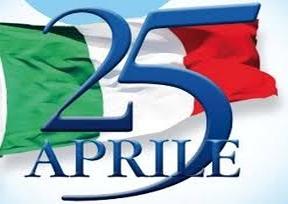 bandiera italiana con scritta 25 aprile