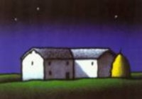 Immagine notturna di un casolare in campagna