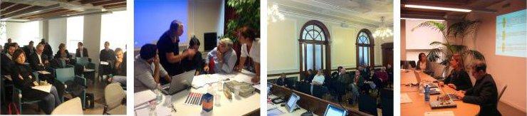 Quattro foto che ritraggono i lavori del Comitato di Pilotaggio