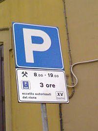 cartello stradale di parcheggio di 3 ore