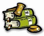 disegno: libri e martello indicanti la legge