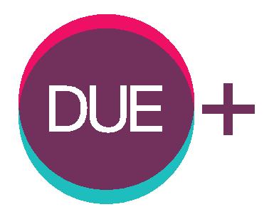 un cerchio viola con la scritta DUE, un bordo rosa, un bordo azzurro e un + esterno al cerchio