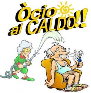 disegno di un'anziana che getta acqua ad un anziano