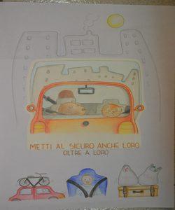 """disegno 1° classificato classe II B """"Don Milani"""" autovettura con a bordo un gatto e un cagnolino. lo slogan: metti al sicuro anche loro oltre a loro"""