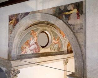Herion ex chiesa - particolare dell'abside con affreschi di G. Pellegrini
