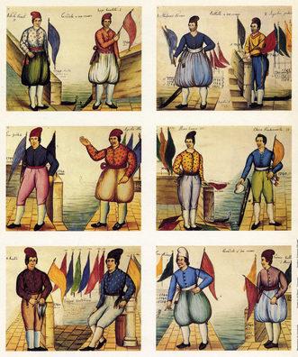 """1847 Il manoscritto di Felice Minozzo """"Manao"""" è corredato da disegni acquerellati raffiguranti i più forti regatanti dal 1670 al 1847"""