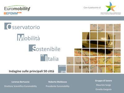 Copertina monografia - LA MOBILITA' SOSTENIBILE IN ITALIA: Indagine sulle principali 50 città - Edizione 2013