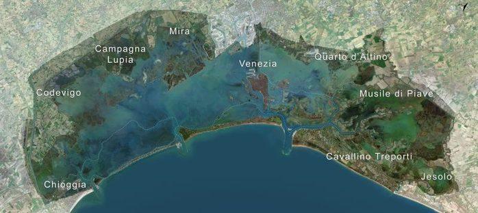 """Mappa con raffigurazione del perimetro del Sito UNESCO """"Venezia e la sua Laguna"""""""