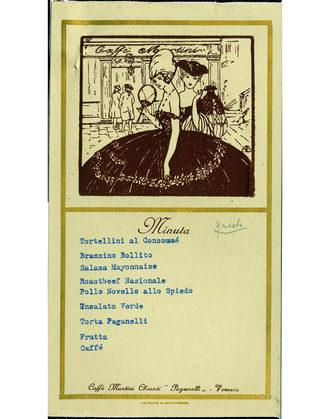 """Regata del 1925 Il menu del """"Disnar"""" offerto ai gondolieri participanti alla Regata"""