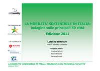 Immagine copertina presentazione di sinteri del rapporto sulla mobilità sostenibile in Italia sulle principali 50 citta in Italia Ed. 2011