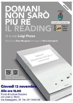 locandina reading 2 nov presso Punto di Lettura Gazzera, ore 18