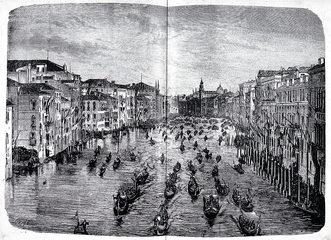 1845 Il corteo che fa da prologo alla Regata, in un'incisione conservata al Museo Correr di Venezia