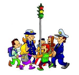 locandina del concorso un girotondo tra bambini e vigili intorno al semaforo