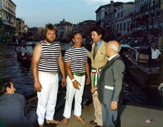 """1977 Gianfranco Vianello """"Crea"""" e Palmiro Fongher  con il sindaco Rigo ed il senatore Fanfani"""