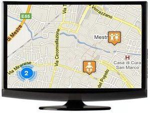 logo mappa georefenziata Mestre Carpenedo: un monitor con una mappa e i simboli maps