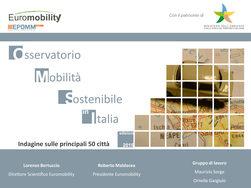 2015 - Osservatorio EUROMOBILITY Mobilità Sostenibile sulle principali 50 città italianeenezia si conferma ancora al 1° posto tra le grandi città italiane