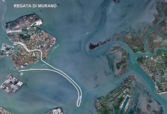 Percorso regata di Murano
