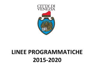 Copertina del fascicolo contenente le Linee Programmatiche di Mandato 2015-2020