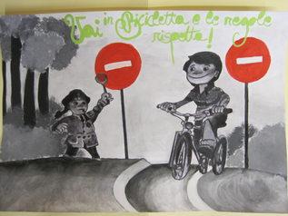 """disegno 1° classificato classe III C """"Don Milani"""" un bambino che va in bicicletta e una vigilessa che lo ferma. lo slogan: vai in bicicletta e le regole rispetta"""