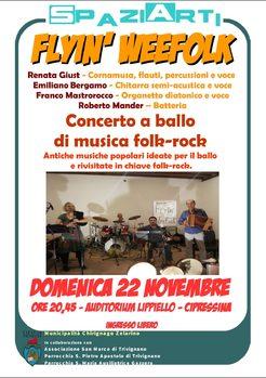 SpaziArti. Flyin' WeeFolk - concerto a ballo di musica folk-rock all'Auditorium A. Lippiello