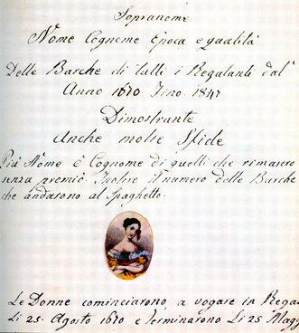"""1847 La rassegna delle regate dal 1670 al 1847 redatta da Felice Minozzo """"Manao"""", """"servitor da barca"""""""
