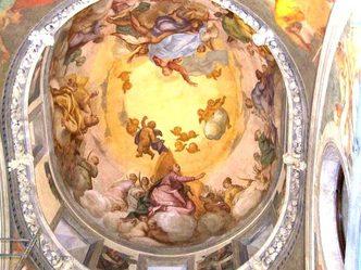 Herion ex chiesa - affresco di G. Pellegrini nella cupola centrale dell'abside (sala conferenze)
