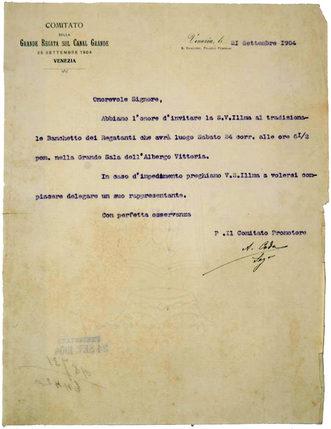"""1904 Lettera d'invito al tradizionale """"disnar"""" dei regatanti, in programma il sabato precedente la gara all'hotel Vittoria"""