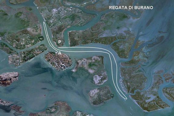 Percorso regata di Burano