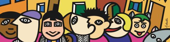 Banner del sito con Famiglie a Venezia disegno di tante facce
