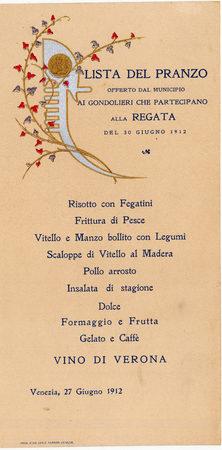 """1912 Il menù del """"disnar"""" dei regatanti in programma il giovedì precedente la gara"""