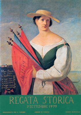 Il ritratto di Maria Boscola da Marina, attiva tra il 1740 e il 1784, conservato al museo Correr, utilizzato per uno dei manifesti ufficiali della Regata storica 1979